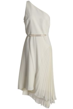 HALSTON HERITAGE One-shoulder asymmetric pleated chiffon-paneled crepe dress