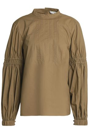 TIBI Pintucked shirred cotton-poplin blouse