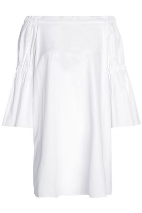 TIBI Off-the-shoulder shirred cotton-poplin mini dress