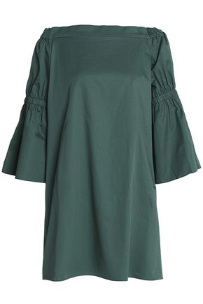 TIBI Off-the-shoulder cotton-poplin dress