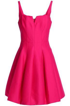 HALSTON HERITAGE Pleated cotton and silk-blend mini dress