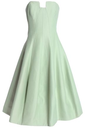 Halston Heritage Woman Strapless Pleated Cotton And Silk-blend Dress Mint Size 10 Halston Heritage