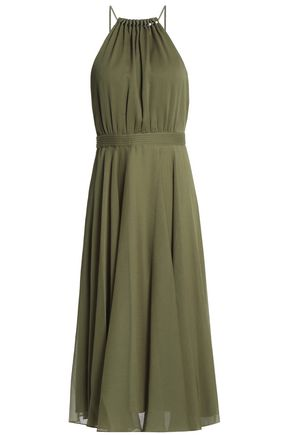 HALSTON HERITAGE Gathered chiffon midi dress