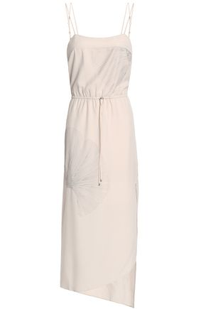 HALSTON HERITAGE Asymmetric embroidered twill midi dress