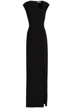 HALSTON HERITAGE Asymmetric satin-crepe gown