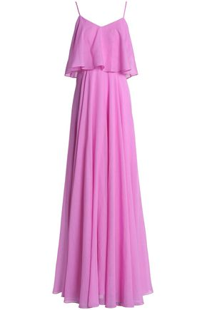 HALSTON HERITAGE Layered gathered voile gown