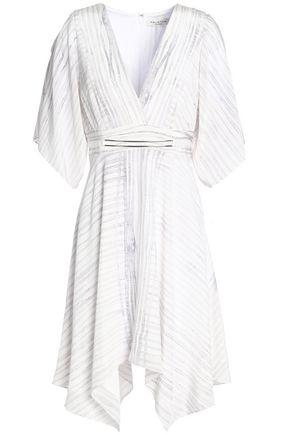 HALSTON HERITAGE Printed silk-crepe mini dress
