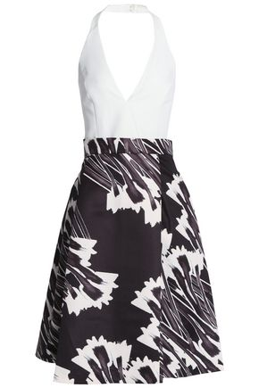 HALSTON HERITAGE Pleated printed twill halterneck dress