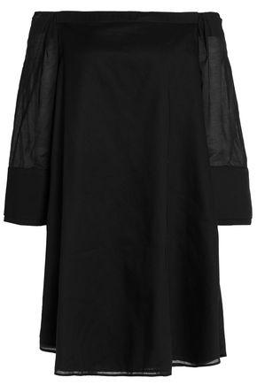 HALSTON HERITAGE Off-the-shoulder cotton-gauze mini dress