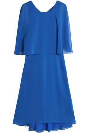 HALSTON HERITAGE Cape-effect georgette dress