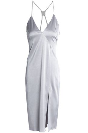 HALSTON HERITAGE Metallic satin-crepe dress