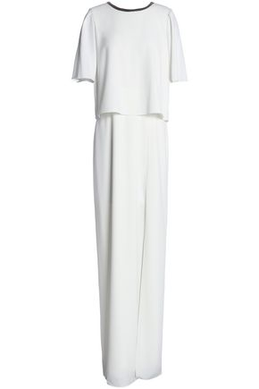 HALSTON HERITAGE Metallic-trimmed layered crepe gown