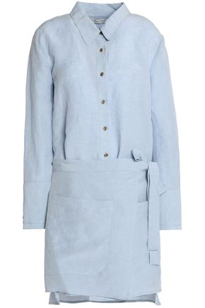 HALSTON HERITAGE Detachable wrap-effect linen-blend mini shirt dress