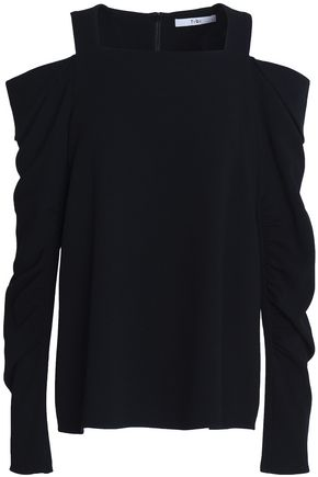 TIBI Cold-shoulder ruched cady top