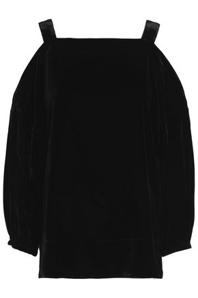 TIBI Cold-shoulder velvet top