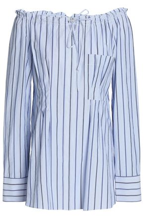 TIBI Off-the-shoulder striped cotton-poplin top