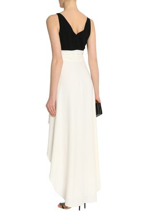 HALSTON HERITAGE Asymmetric knotted two-tone crepe dress