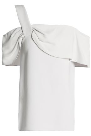 TIBI Cold-shoulder ruffle-trimmed crepe top