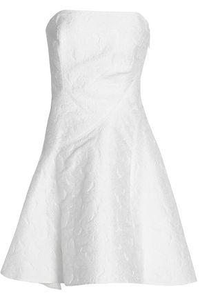 HALSTON HERITAGE Strapless pleated jacquard dress