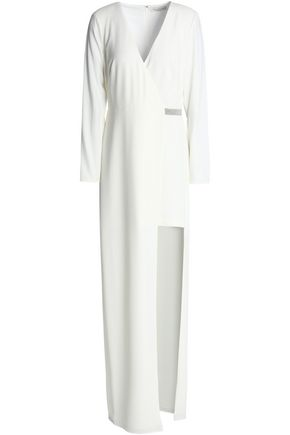 HALSTON HERITAGE Wrap-effect split-front embellished crepe maxi dress