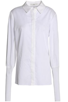 TIBI Ribbed knit-paneled cotton-poplin top