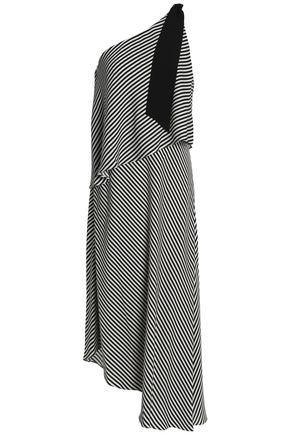 HALSTON HERITAGE One-shoulder layered striped crepe de chine dress