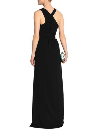 HALSTON HERITAGE Cutout ruched crepe gown