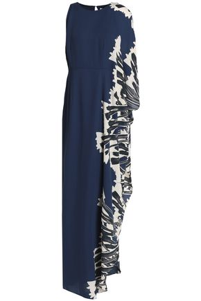 HALSTON HERITAGE One-shoulder printed crepe gown