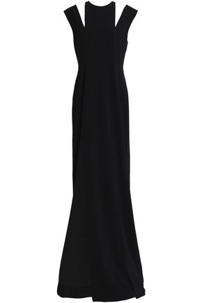 HALSTON HERITAGE Cutout crepe gown