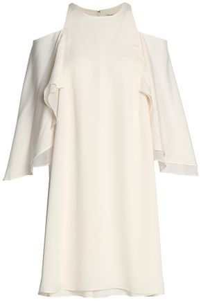 HALSTON HERITAGE Cold-shoulder draped crepe de chine dress
