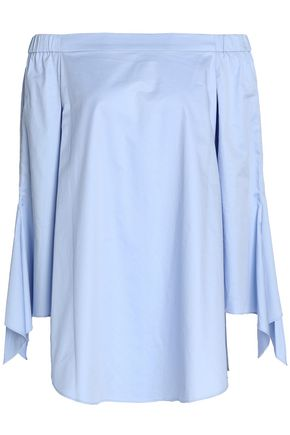 TIBI Off-the-shoulder draped cotton-poplin top