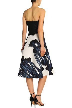 530f8291549 ... HALSTON HERITAGE Strapless floral-print twill dress
