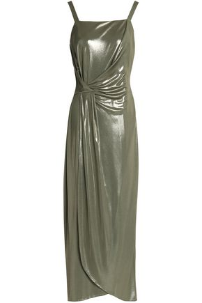 HALSTON HERITAGE Wrap-effect metallic jersey midi dress