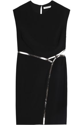 HALSTON HERITAGE Open-back metallic-trimmed crepe mini dress