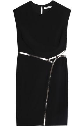 HALSTON HERITAGE Open-back metallic-trimmed crepe mini dress