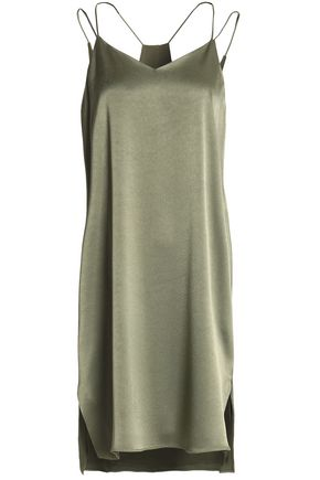 HALSTON HERITAGE Satin-crepe slip dress