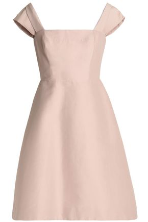 HALSTON HERITAGE Off-the-shoulder cotton and silk-blend dress