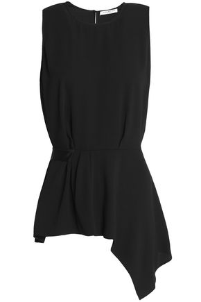 HALSTON HERITAGE Asymmetric draped crepe top