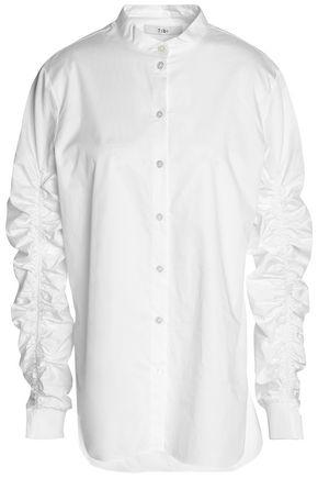 TIBI Ruched cotton-poplin top