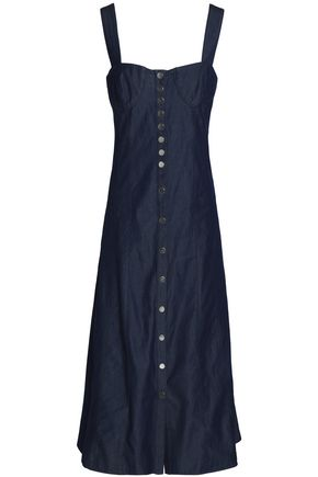TIBI Button-detailed denim midi dress