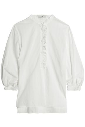 TIBI Ruffle-trimmed pinstriped cotton-poplin blouse
