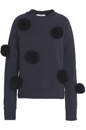 TIBI Pompom-embellished cotton-terry sweatshirt