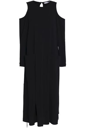TIBI Cold-shoulder ruched crepe midi dress