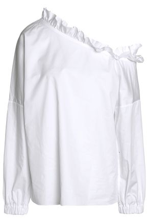 TIBI One-shoulder ruffle-trimmed cotton-poplin top