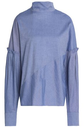 TIBI Gathered cotton-chambray turtleneck top