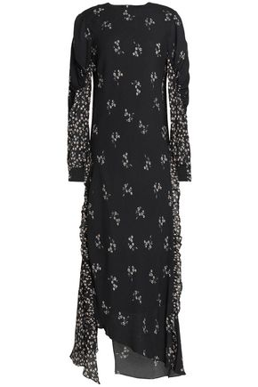 TIBI Ruffle-trimmed floral-print crepe maxi dress