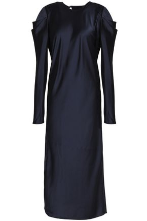 TIBI Celestia pleated satin midi dress