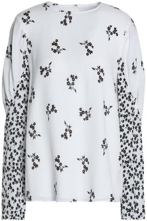 TIBI Gathered floral-print crepe top
