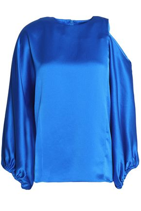 TIBI One-shoulder draped satintop