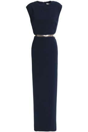 HALSTON HERITAGE Metallic-trimmed cutout crepe maxi dress